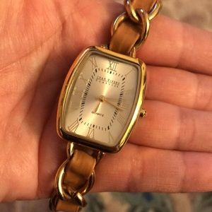Joan Rivers Leather & Gold Woven Watch